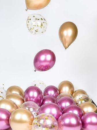 Globos de Oro Rosa Metal Cromado Decoraciones para Fiestas Paquete De 12 Pulgadas para Cumpleaños Bachelorette Boda Baby Shower