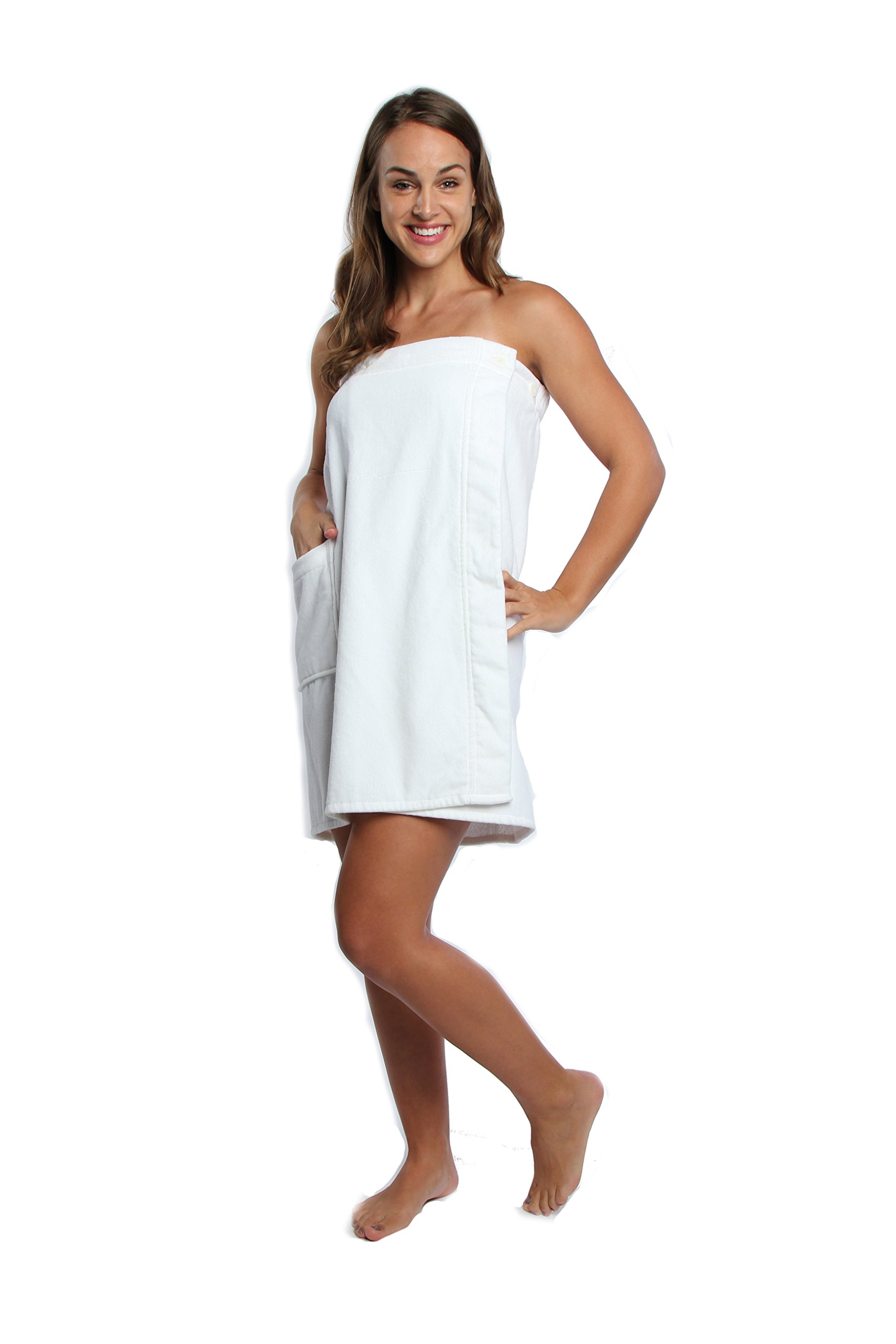 TurkishTowels Spa Towel Wrap (Large, White) by TurkishTowels