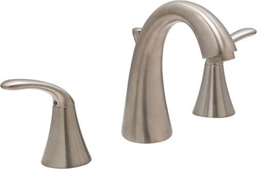 Huntington Brass 14451-72 8-Inch Wide Spread Two Handle High Arc Lavatory Faucet with Brass Pop-Up Drain Assembly, Satin Nickel