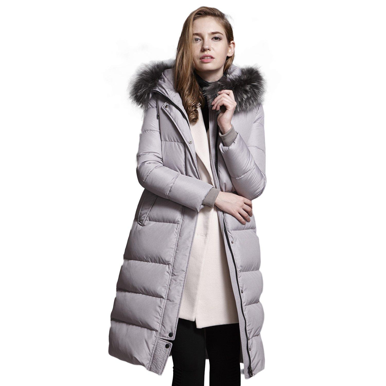BOSIDENG Women's Winter Down Jacket Real Fur Hooded Thick Overknee Grace OL Down Coat Smart Casual Business Outerwear(175/96A 7093)