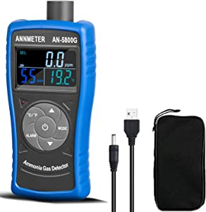 Ammonia Gas Detector,0~100PPM NH3 Concentration Tester, Air Quality Humidity Temp Reader with Alarm for Home Decoration,Poultry Farm,Industry (ANNMETER AN-5800G)