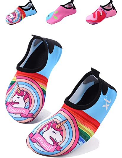 bca2ec9ff Balasha Kids Swim Water Shoes Boys Girls Toddlers Non-Slip Quick Dry Barefoot  Aqua Socks