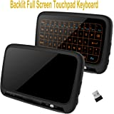 Ilebygo 2.4Ghz Mini Wireless Keyboard,Full Screen Mouse Touchpad Combo,Rechargeable Remote Control for PC,Android Tv Box,HTPC.IPTV,PS3,Pad,