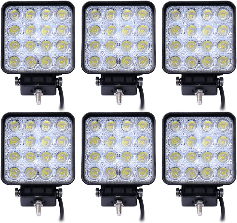 Leetop 6 Luces de Trabajo LED 48W 3800 lm 6000K 67IP, Luces de Apoyo de Marcha Atrás para Tractor o Excavadora