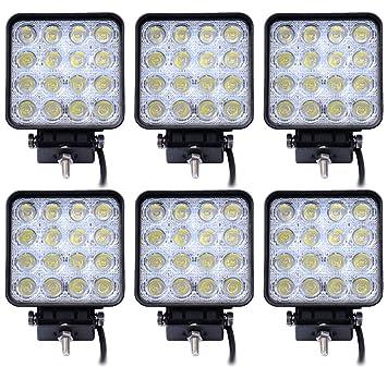 Leetop 6 Luces de Trabajo LED 48W 3800 lm 6000K 67IP, Luces de Apoyo de Marcha Atrás para Tractor o Excavadora: Amazon.es: Coche y moto