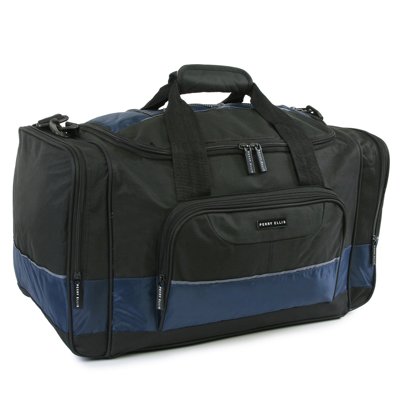 Perry Ellis Men's Medium Business Travel Duffel Bag, Black/Navy