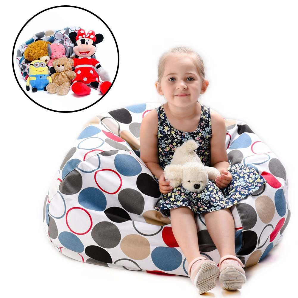 """Kids Stuffed Animal Storage Bean Bag Chair -Extra Large Toy Storage Bean Bag Cover By YuppieLife -Useful Solution for Your Kids Messy Room-Available For Kids and Teenager(38"""" Colorful Circle)"""