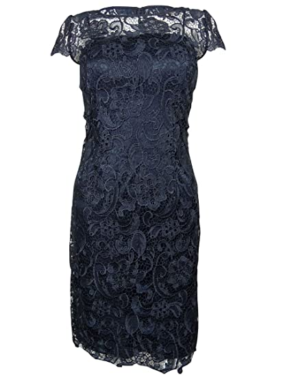 Patra Womens Illusion Guipure Lace Overlay Dress 14 Navy At