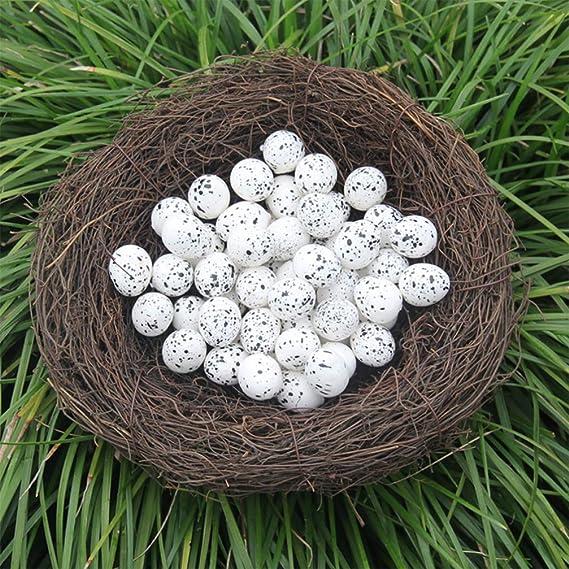 Amosfun 50pcs Uova di Uccelli Artificiali di Pasqua Uova di quaglia in Schiuma Colorata Finta Pittura Prop Cibo Giocattolo per Ornamenti Giardino di casa di Pasqua