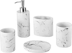 5-Piece Bathroom Accessories Set Made of Marble Resin,Marble Pattern Bathroom Gift,Counter top with Soap Dispenser, Toothbrush Holder,2 Tumbler Cup, Soap Dish.Complete Accessory Set.(Ink White