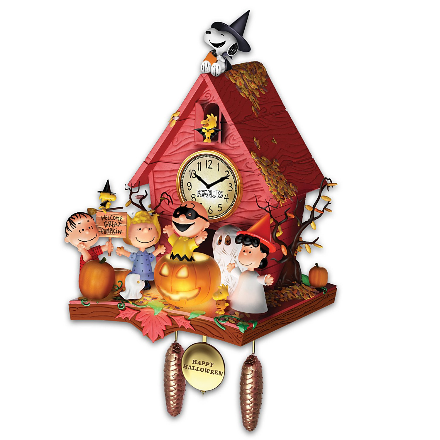Peanuts Halloween Party Cuckoo Clock with Lights Music Motion by The Bradford Exchange by Bradford Exchange