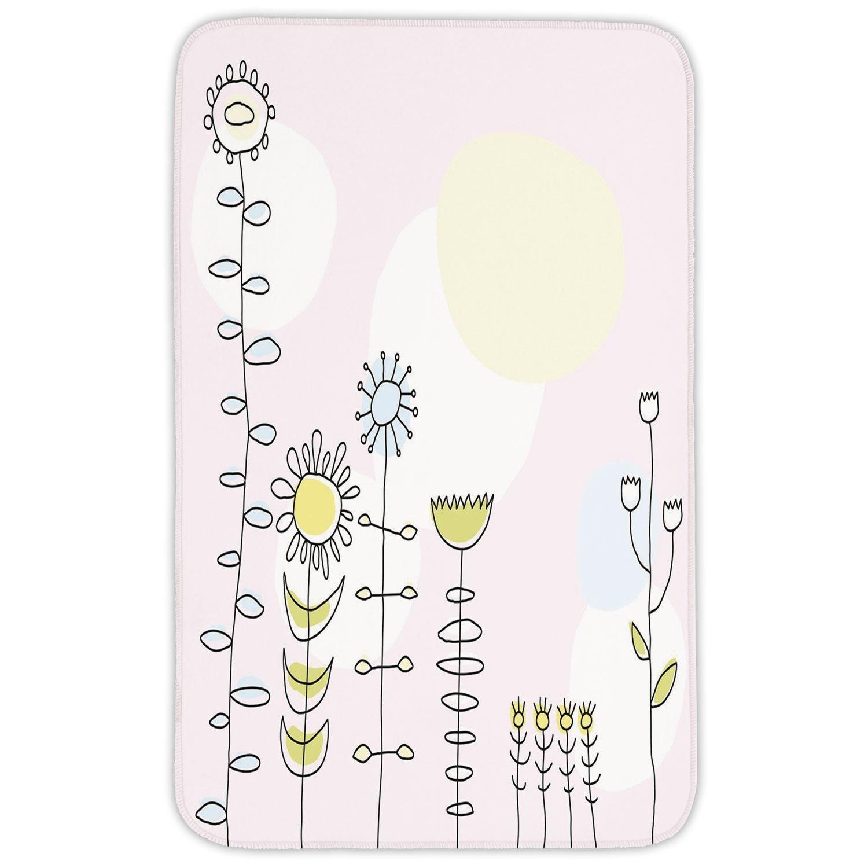 Rectangular Area Rug Mat Rug,Kids,Cute Sunflower Tulips Daisy Field Sun Nature Childish Cartoon Design Decorative,Light Pink Yellow Blue Green,Home Decor Mat with Non Slip Backing