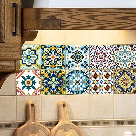EXTSUD Adesivi per Piastrelle Stile Mediterraneo Wall Stickers da  Mattonelle Parete in PVC Impermeabile Autoadesivo Decorazione per Cucina  Bagno Fai ...