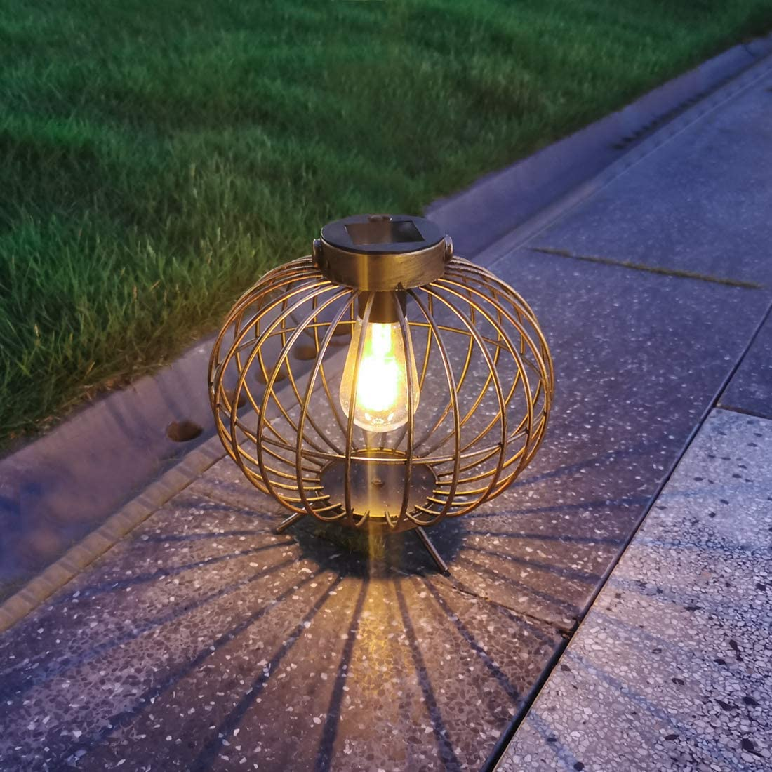Solar Lantern Outdoor, pearlstar Metal Solar Light with Base Waterproof for Garden Yard Patio Pathway Decoration – 8 Solar Table Lamp – Hanging Solar Light Copper
