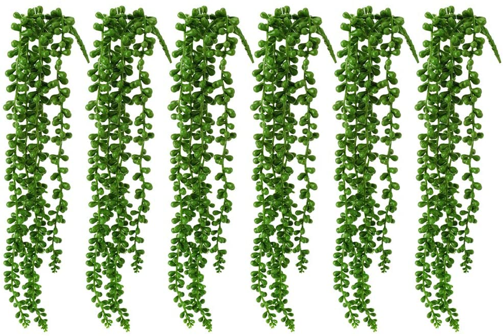WOODWORD Artificial Succulent Plants Artificial Hanging Pearls Plant String of Pearls 20 inch Flake Hanging Succulents for Home Decor, Set of 6