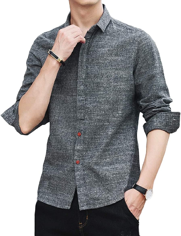 YUNY Men Loose Fitness Non-Iron Long Sleeve Regular-Fit Classic Shirt Grey S