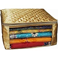 Kuber Industries™ Saree Cover Large Size Upto 15 Sarees in Golden Satin/Wedding Gift