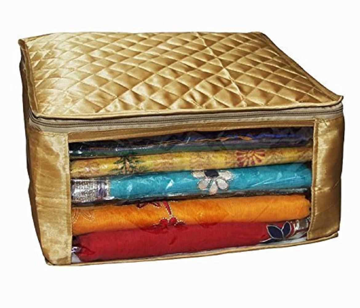 Kuber Industries Saree Cover Large Size In Golden Satin Upto 20 Sarees/Wedding Gift