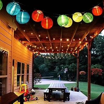 EleganBello Guirnalda Luces 2 LED Linterna 4,8M Coloreado Panel Solar Impermeables Ideal para Jardines, Porches, Balcones, árbol de Navidad, etc: Amazon.es: Iluminación