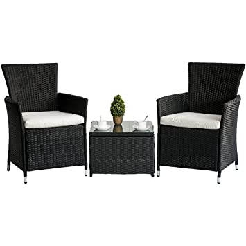 Merax 3 Piece Patio Rattan Furniture Set With Cushions Outdoor Wicker Garden  Lawn Chair With