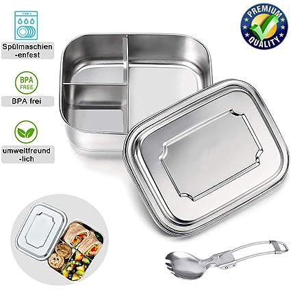 Fiambrera 1000ML, Acero Inoxidable Fiambrera, Contenedores de Alimentos, Apta para lavavajillas Bento de Comida Caja de Almuerzo para con Tres ...