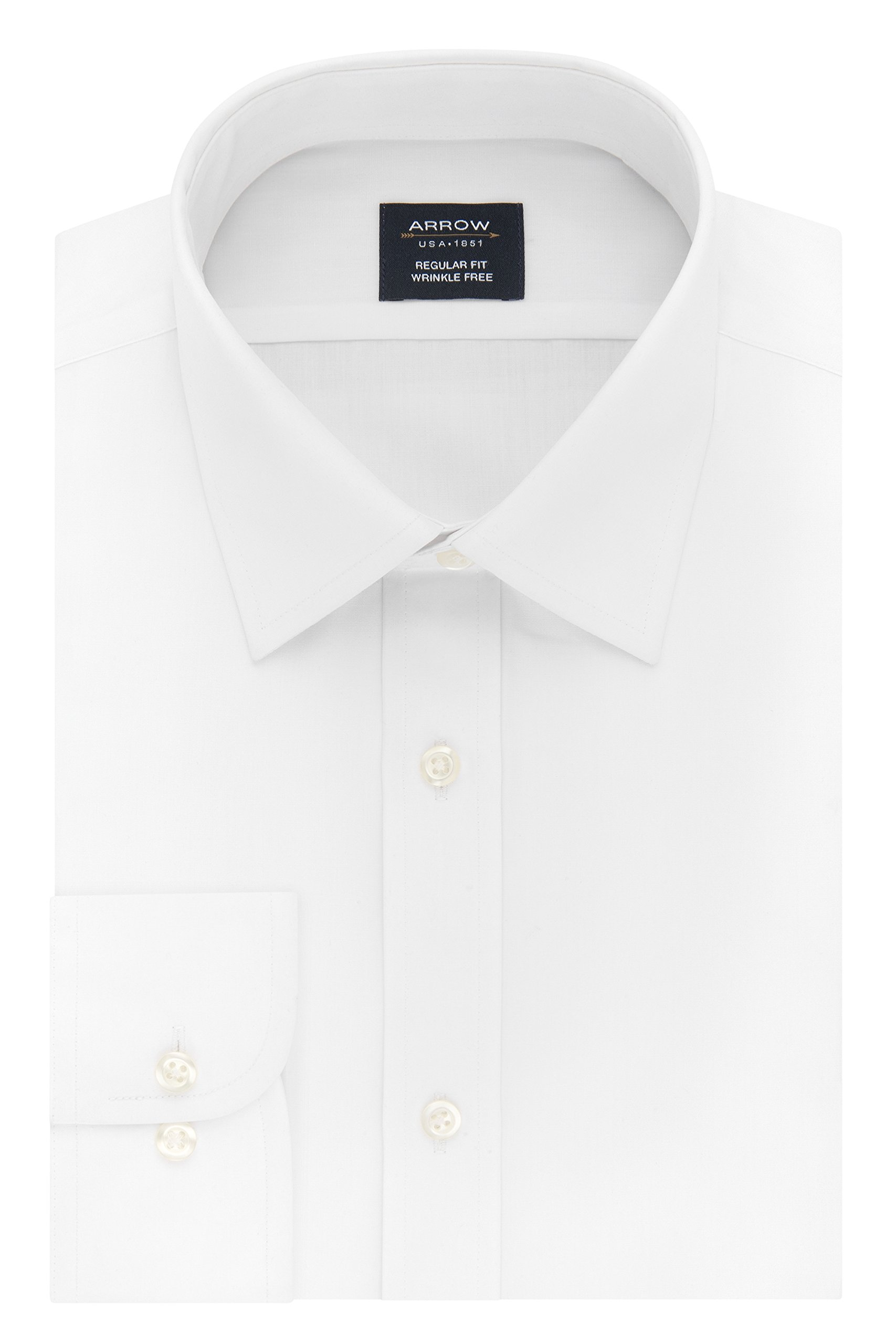 Arrow Men's Dress Shirt Poplin Regular Fit Spread Collar, White, 16-16.5'' Neck 34-35'' Sleeve
