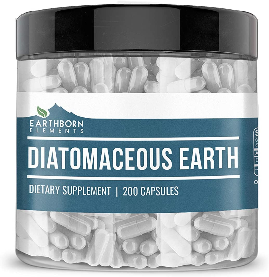Diatomaceous Earth Superfood Supplement, 200 Capsules (275 mg per Serving) by Earthborn Elements, Food Safe, Improves Sleep Patterns, Strengthens Bones & Joints, Total Body Wellness