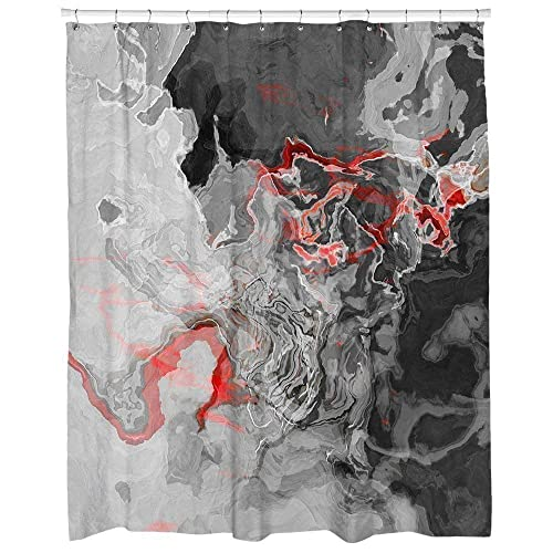 Amazon Abstract Art Shower Curtain In Red Black Gray And White Shadow Land Handmade