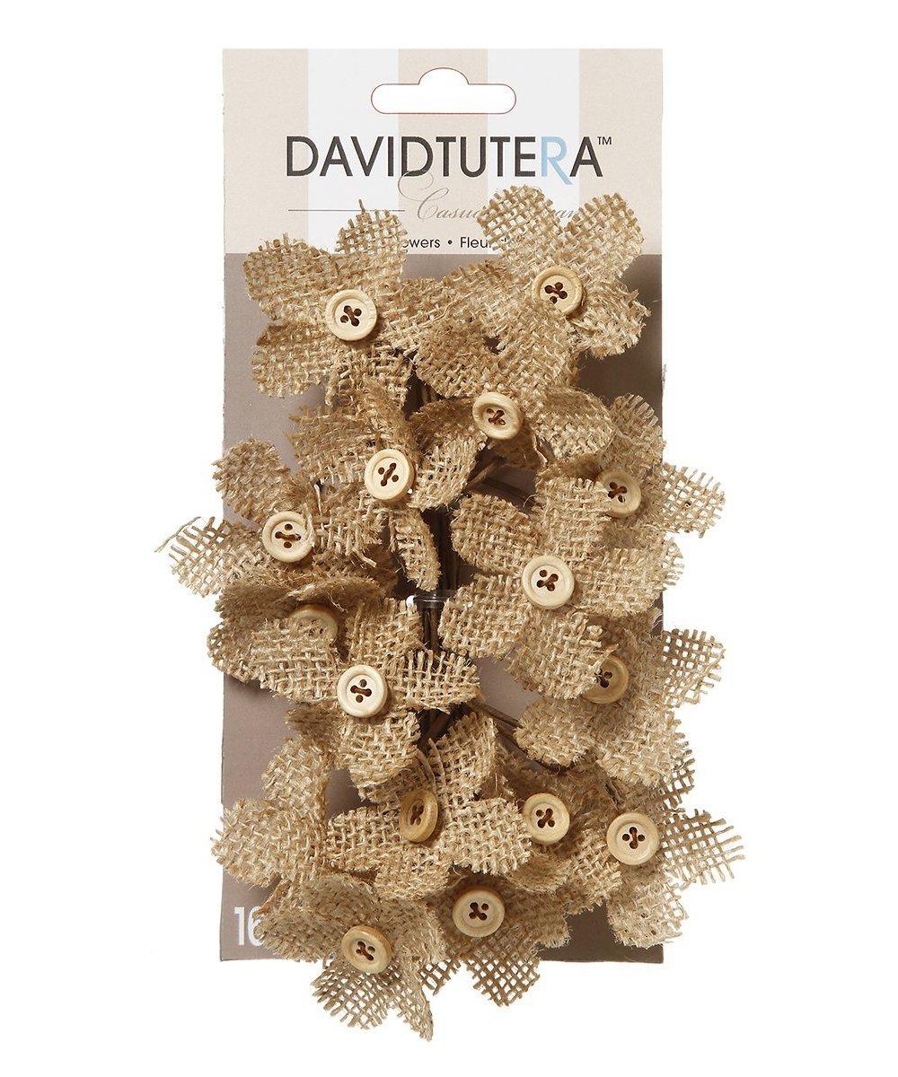 Darice David Tutera Burlap Flower Picks-4.5x3.5-Inch-16 Piece DT9083