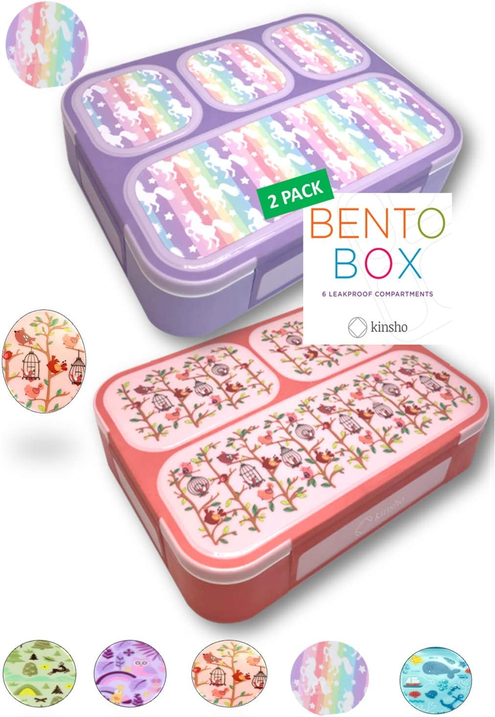 Ice Pack Included Unicorn Bento Lunch Box and Bag Set for Girls Toddlers Cute Matching Pink Boxes with Unicorns for Daycare Pre-School Gift