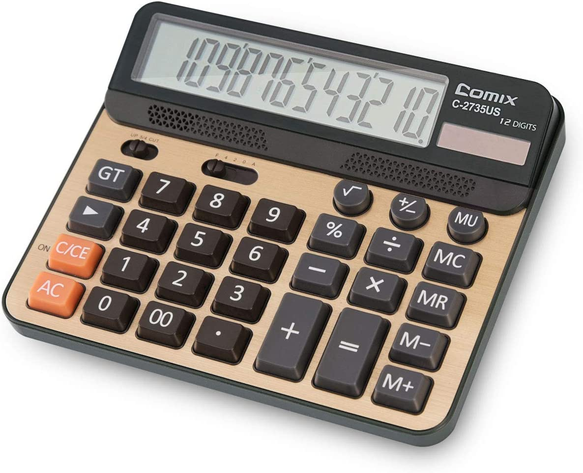 Desktop Calculator, Large Computer Keys, 12 Digits Display, Champaign Gold Color Panel