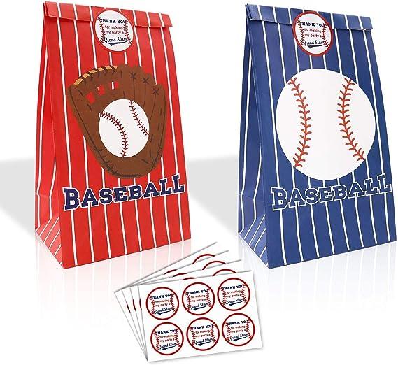5 Baseball Treat Bags Baseball Party Favor Bags Drawstring Sports Party Bags