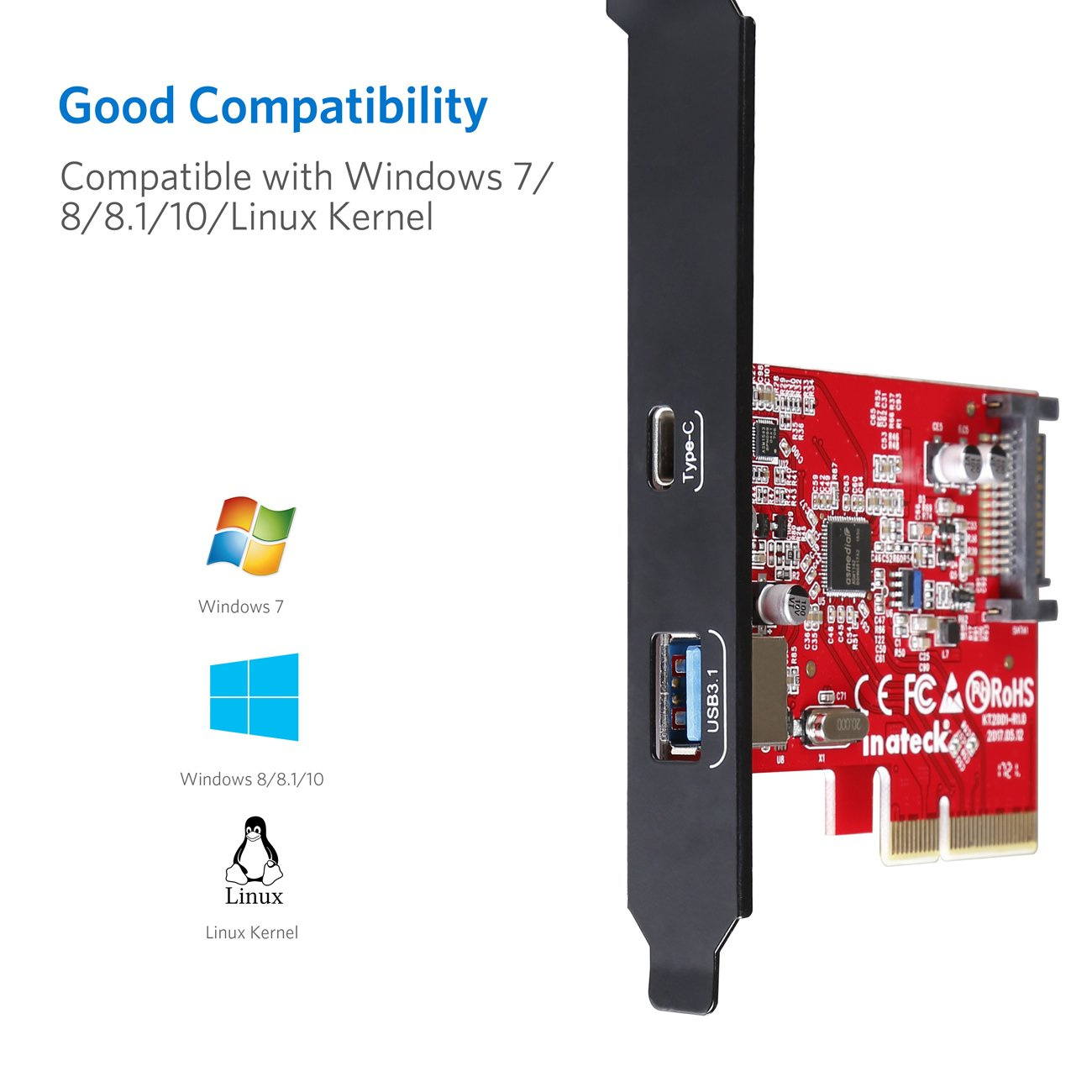 Inateck PCI-E to USB 3.1 PCI Express Card Including Type A and Type C Ports USB 3.1 Gen 2 SuperSpeed 10Gbps with 15-Pin SATA Power Connector and Asmedia Chip for Windows 7 /8/8.1/10/Linux Kernel by Inateck (Image #5)