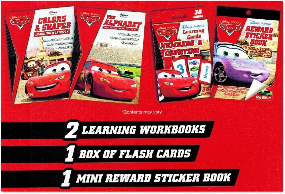 Math Workbook Addition//Subtraction Flashcards Disney Cars Learning Set Kids Reward Stickers Reading Workbook
