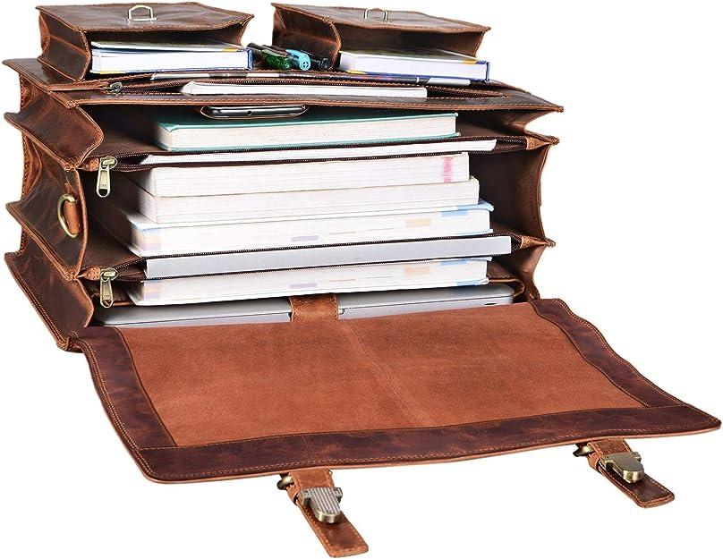 STILORD Anton Maletín XL de Cuero Vintage para Profesor Trabajo o Negocios Bolsa para portátil de 15,6 acoplable a Carro de Piel auténtica