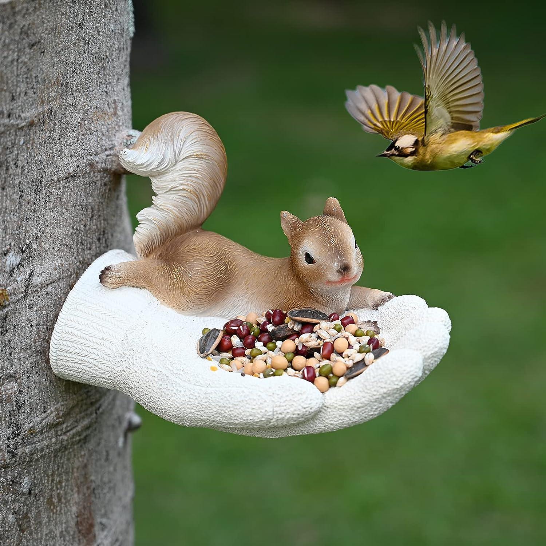 Hand-Mart Bird Feeder Tree Decor, Unique Design Squirrel Lie on Hand, Hanging Garden Statues, Wild Seed Birdfeeder Tree Hugger Sculpture, Whimsical Garden Decorations, Outdoor Yard Art