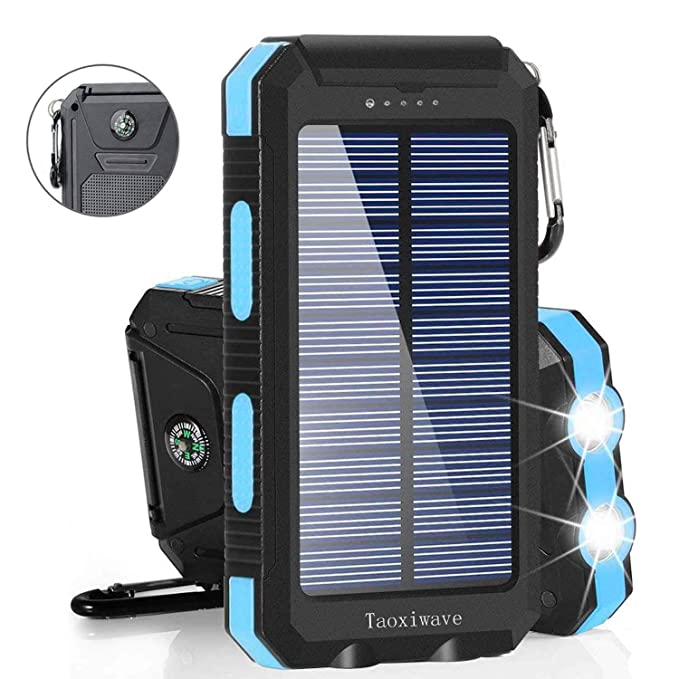 Solar Charger Solar Power Bank 20000mAh Waterproof Portable External Backup  Outdoor Cell Phone Battery Charger with Dual LED Flashlight Solar Panel