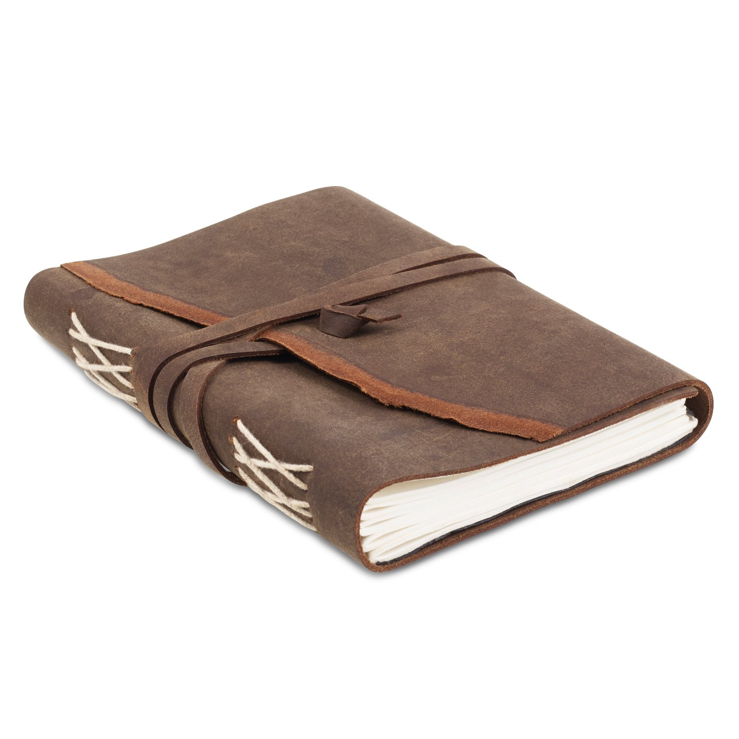 Rustic Leather Writing Journal with Handmade Recycled Cotton Paper, Gift Boxed for Men Women, use as a diary, journal, Artist sketchbook (5 x 7, NATURAL)