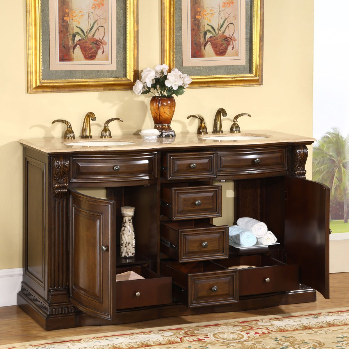 Amazon.com: Silkroad Exclusive Bathroom Vanity HYP-0712-T-UIC-60 ...