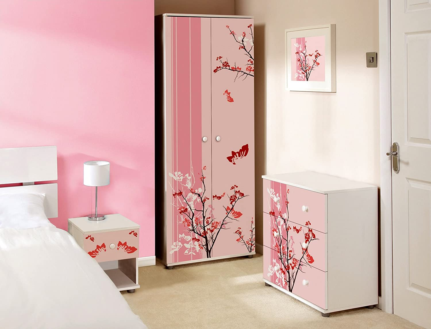 Pink Floral Design ChildrensKids White Bedroom Furniture Sets