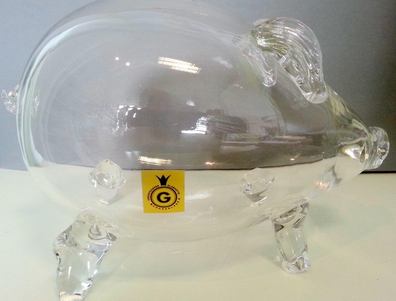 Gigante alcancía, hucha, guaca, ladronera en forma de un cerdo de vidrio transparente, vidrio claro, ornamentales soplado con la boca, longitud circa 24 cm, ...