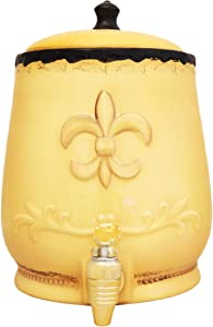 Tuscany Colorful Hand Painted Fleur De Lis Canisters, Set of 4, 82001 By ACK 10x14x15 = 8 (Yellow Beverage Dispenser)