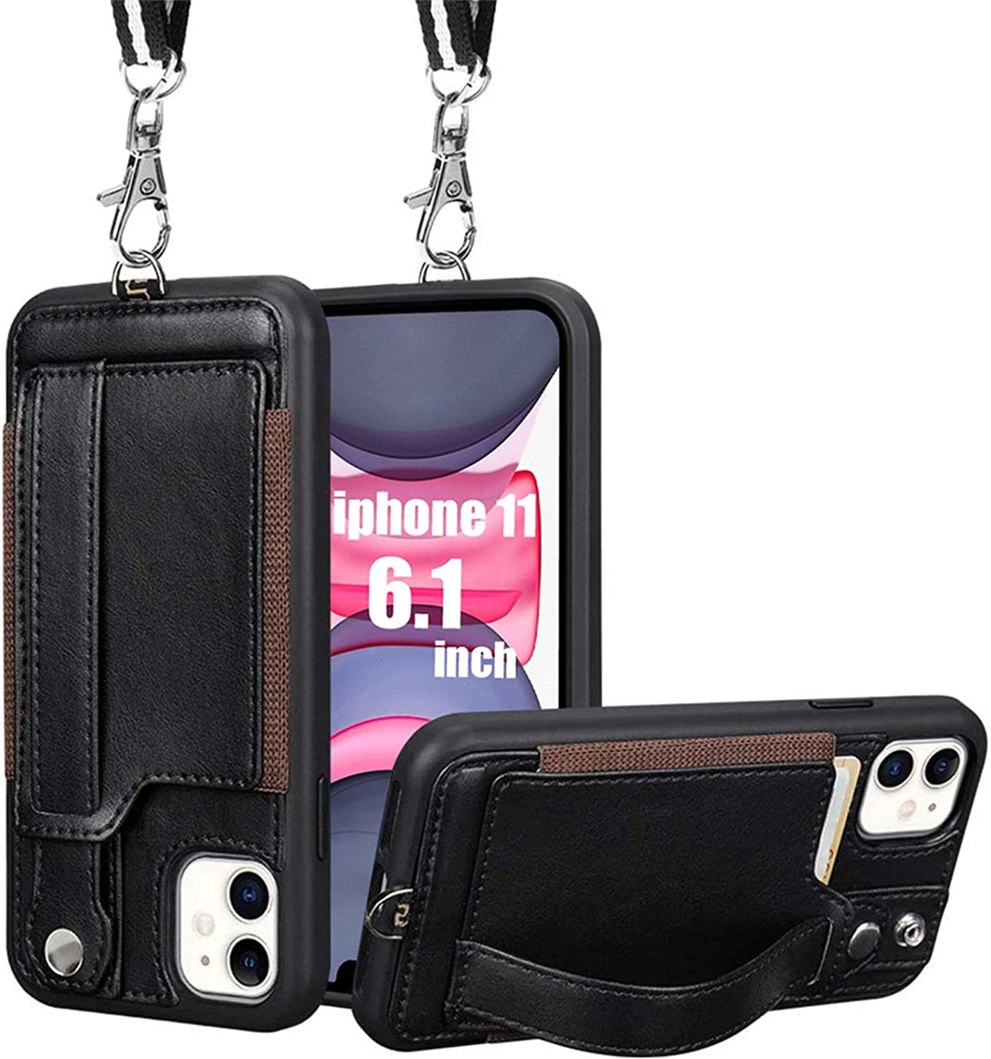 iPhone 11 Wallet Case, TOOVREN iPhone 11 Case Protective Cover with PU Leather Card Holder Adjustable Detachable iPhone Lanyard Stand Strap for iPhone 11 6.1 Inch 2019 Black