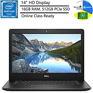 """Dell Inspiron 14 14"""" Laptop Computer_ Intel Pentium Gold 5405U 2.3GHz_ 16GB DDR4 RAM_ 512GB PCIe SSD_ Bluetooth 4.1_ USB 3.1_ Black_ Windows 10 Home in S_ Online Class Ready_ Webcam_ BROAGE Mouse Pad"""