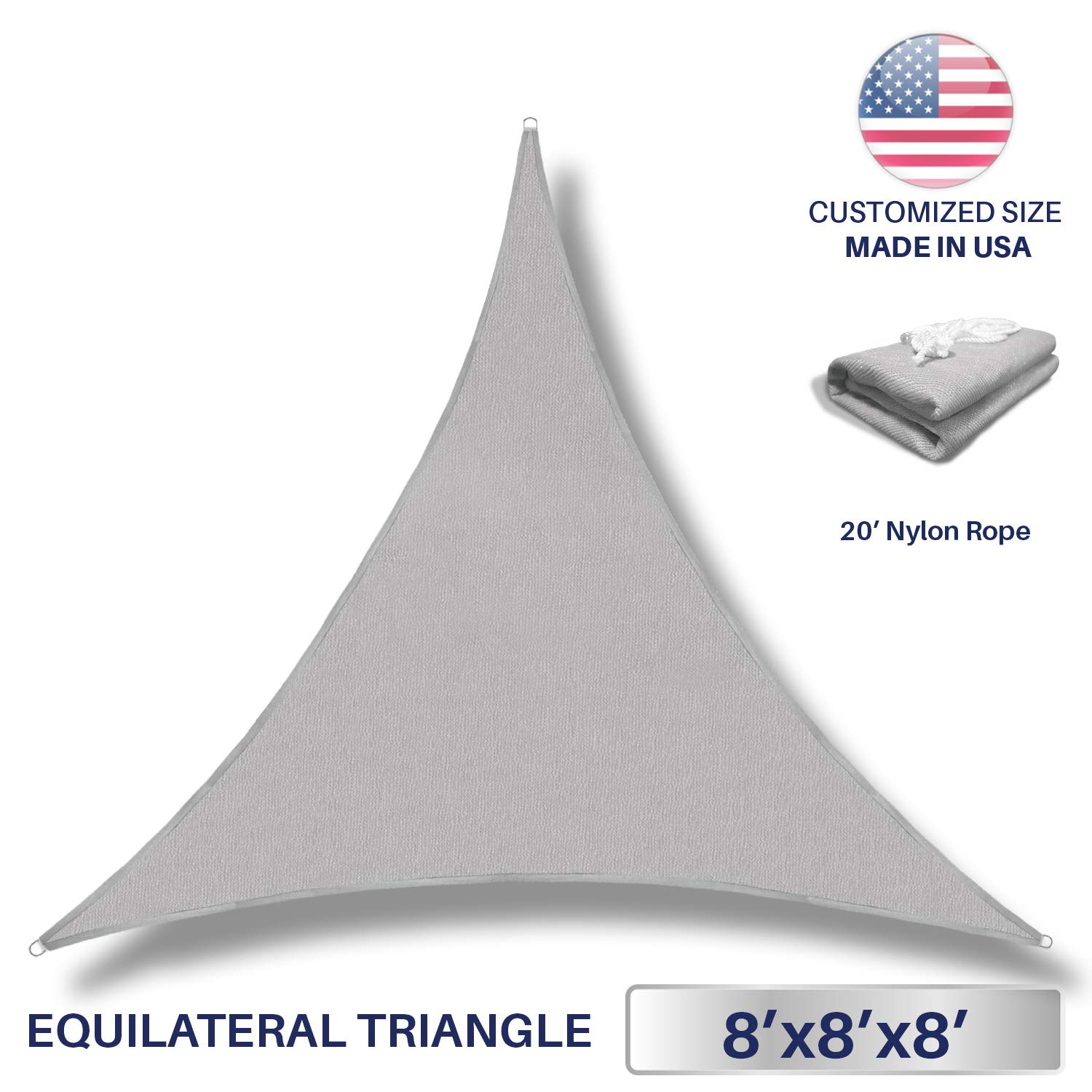Windscreen4less 8' x 8' x 8' Triangle Sun Shade Sail - Light Grey Durable UV Shelter Canopy for Patio Outdoor Backyard - Custom