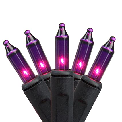 northlight set of 100 pink purple mini halloween or christmas lights black wire