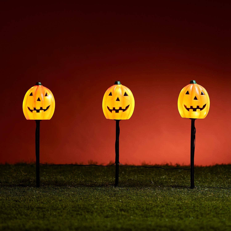 Lights4fun, Inc. Set of 3 Halloween Pumpkin Battery Operated Outdoor LED Garden Pathway Markers Landscape Lights