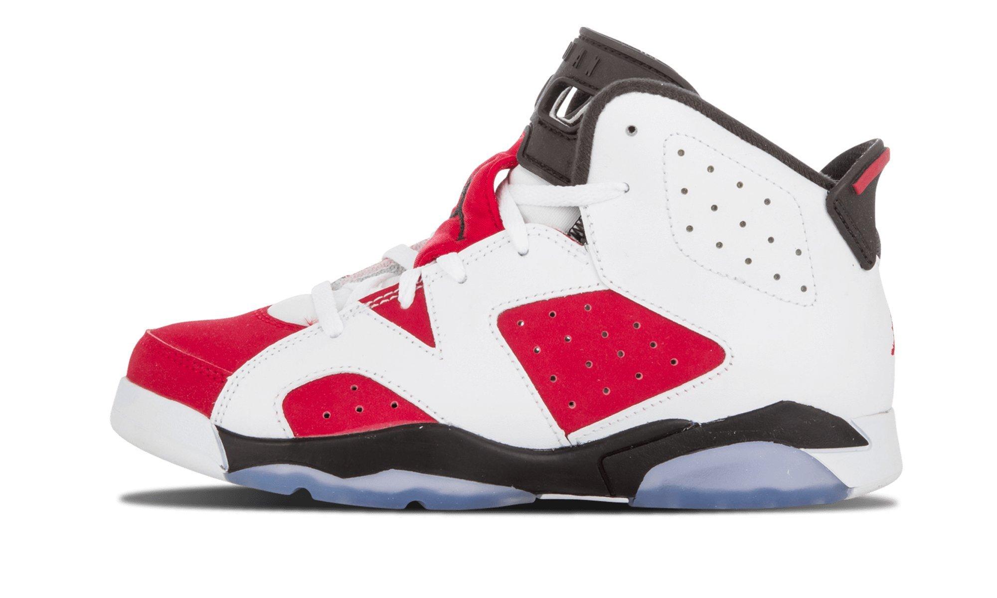Air Jordan Retro 6 BP Little Kids Shoes White/Carmine-Black 384666-160 (2 M US)