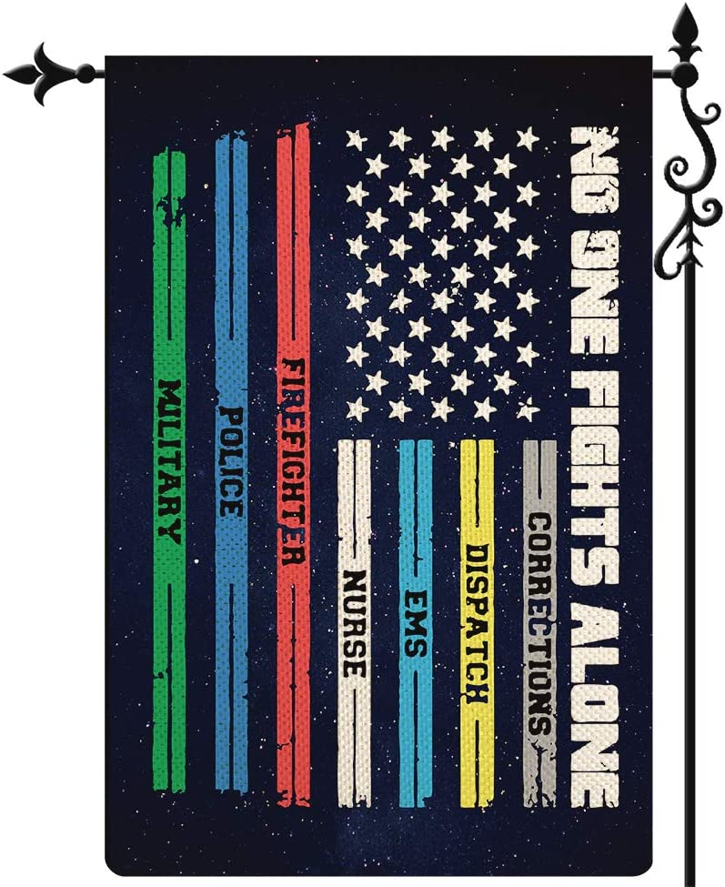 Coskaka Multi Line American US Garden Flag,No One Fights Alone Paramedic Correctional Officer Military Police Fire Fighters Vertical Double Sided Burlap Yard Lawn Outdoor Decor 12.5x18 Inch
