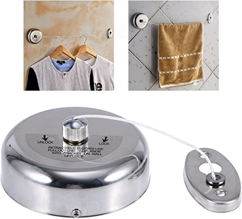 304 Stainless Steel Retractable Single Clothes Line Dryer Laundry Outdoor/&Indoor
